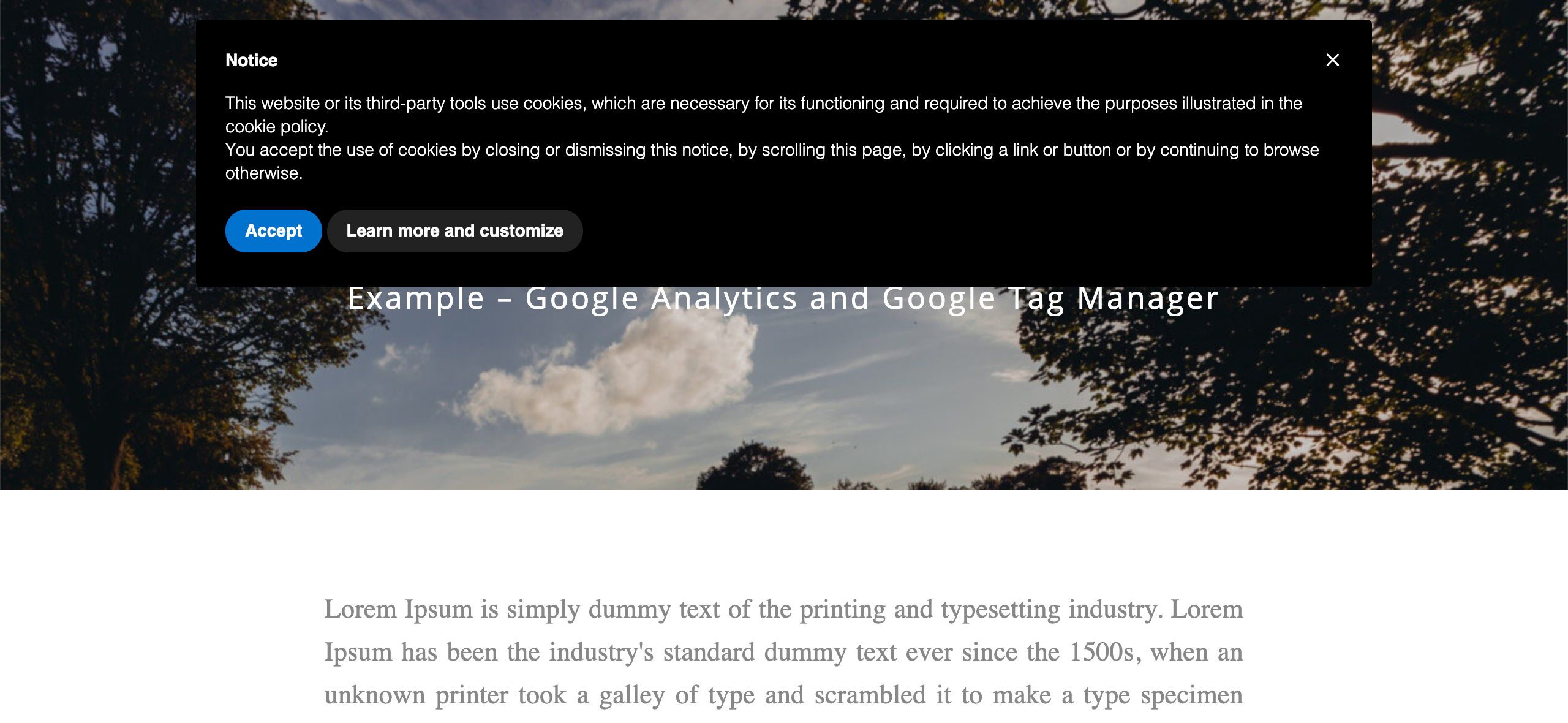 Cookie Solution - Google Analytics and Tag Manager