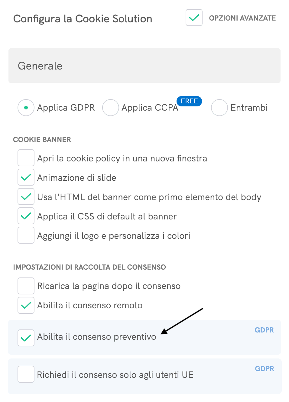 Checkbox del blocco preventivo - Configuratore