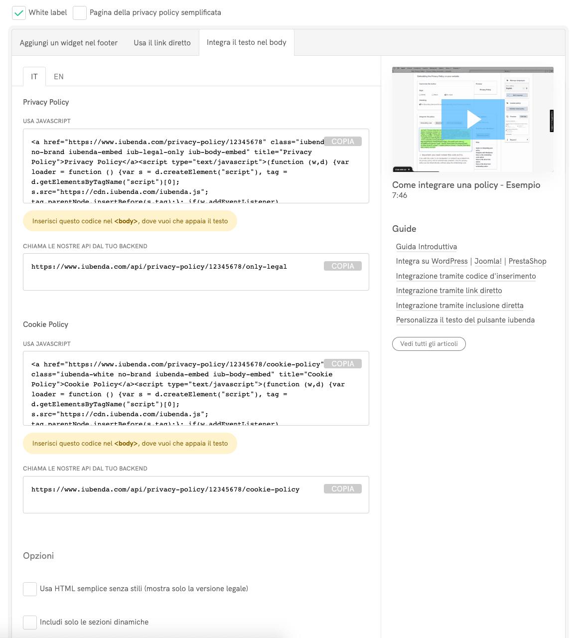 Inclusione diretta del testo della privacy policy