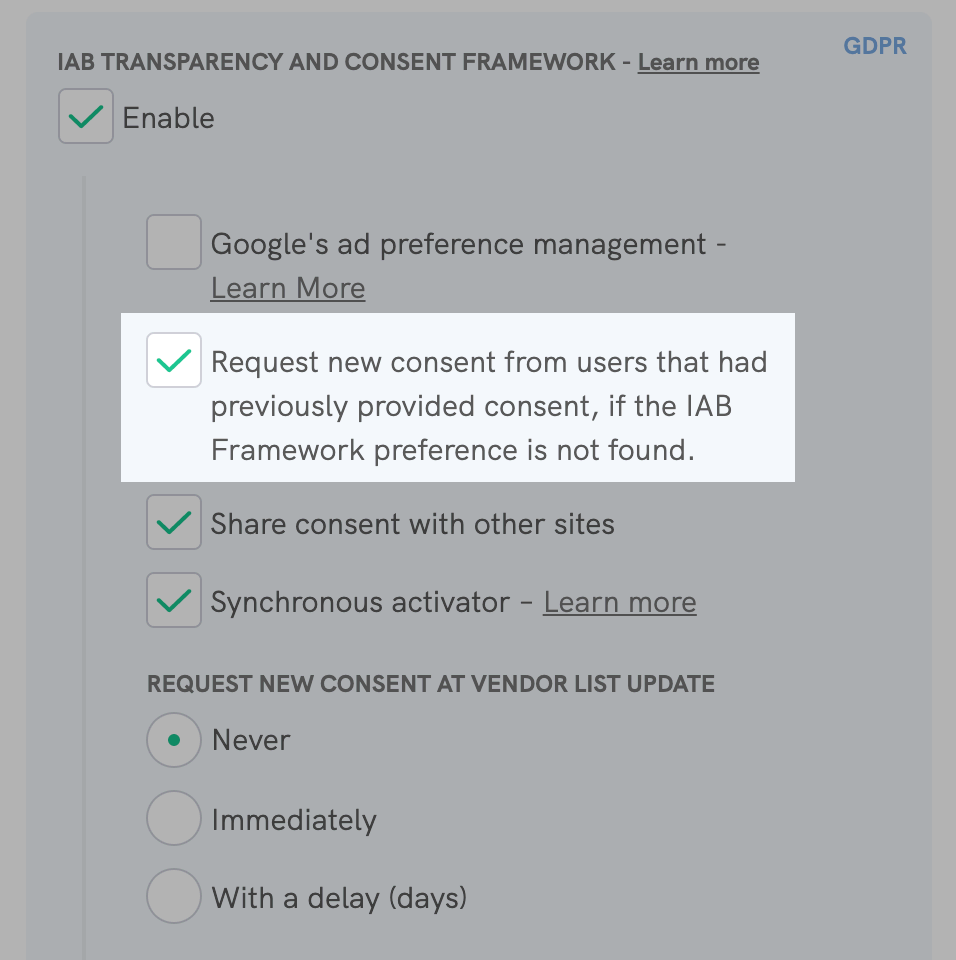 IAB Transparency and Consent Framework - Request new consent
