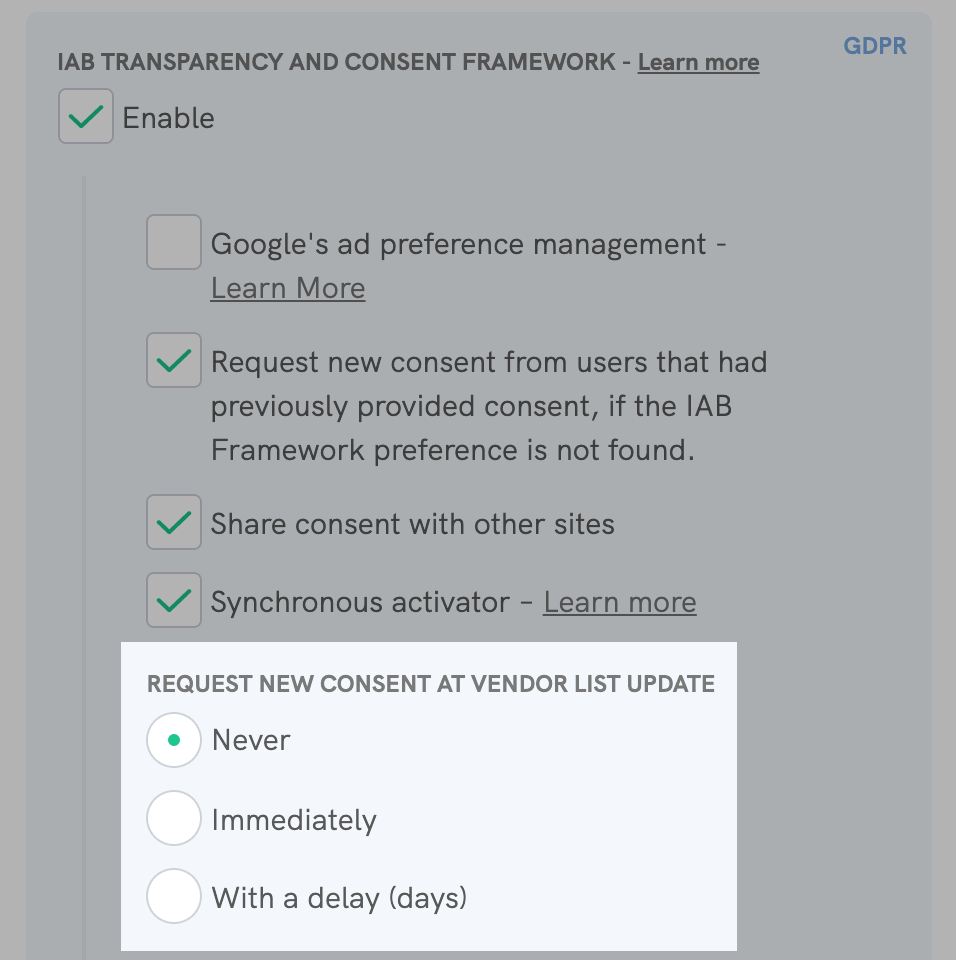 IAB Transparency and Consent Framework - Request new consent at vendor list update