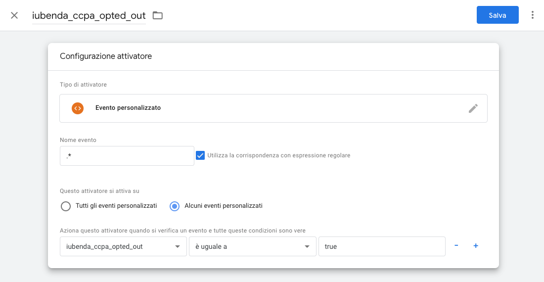 Google Tag Manager - Configurazione attivatore iubenda_ccpa_opted_out