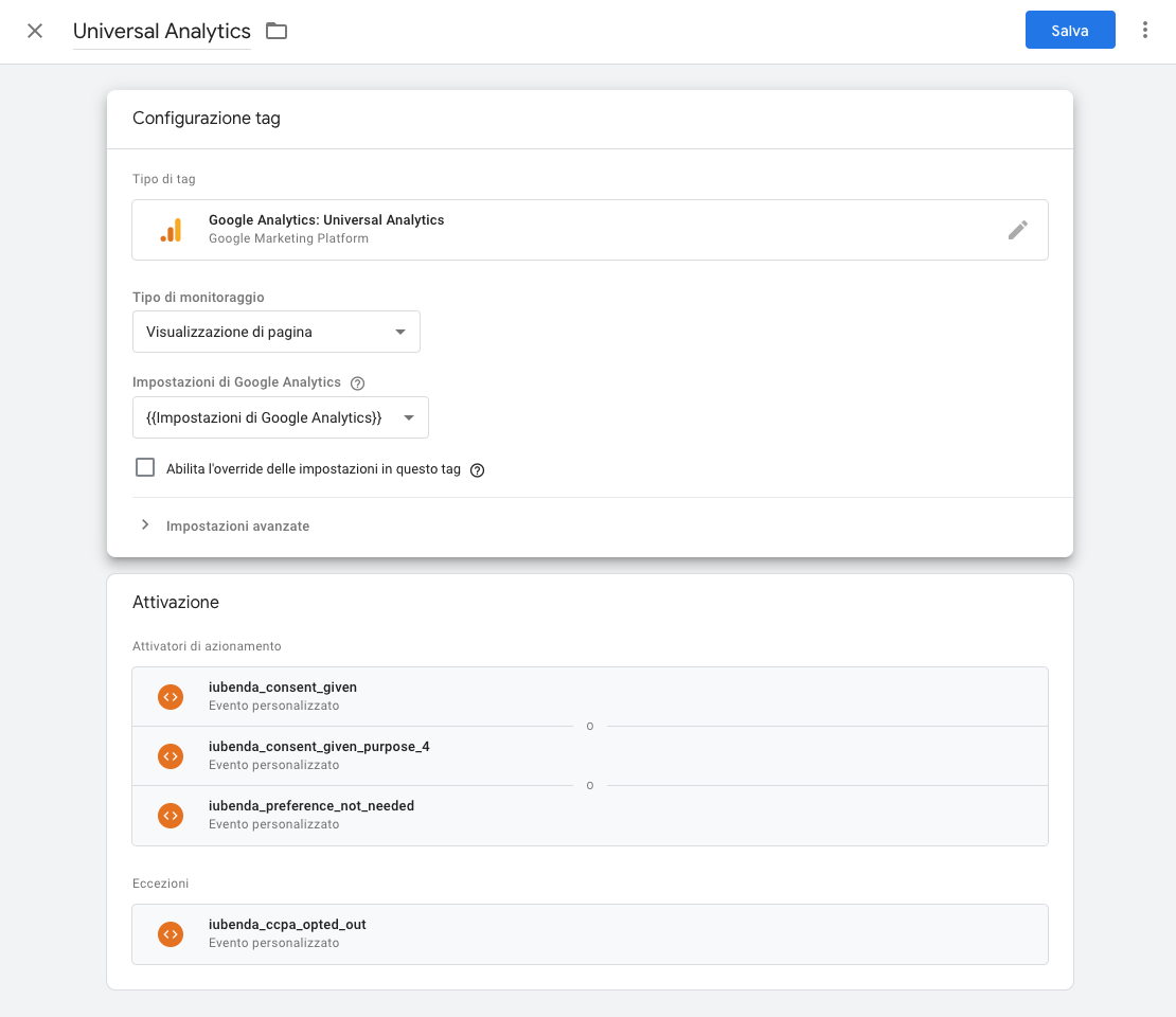 Google Tag Manager - Tag Universal Analytics