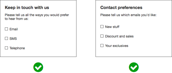 GDPR form example - Granular options