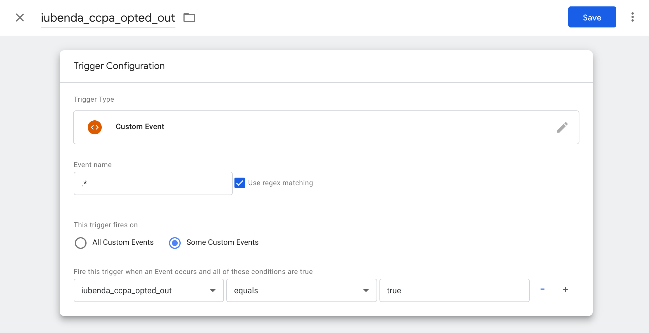 Google Tag Manager - iubenda_ccpa_opted_out trigger configuration