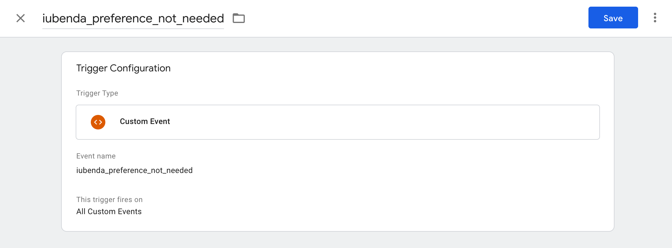 Google Tag Manager - iubenda_preference_not_needed trigger configuration