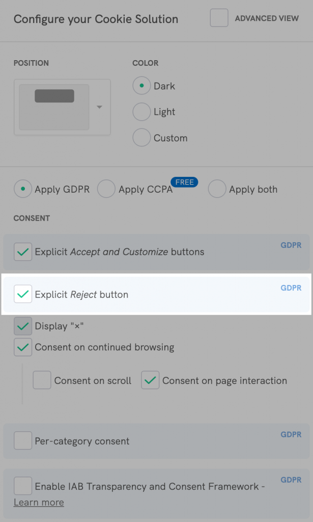 Cookie Solution configurator - Reject button