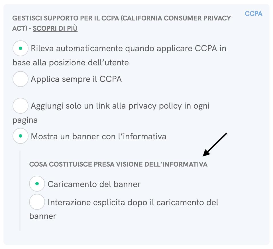 Cookie Solution per il CCPA - Opzioni di presa visione dell'informativa