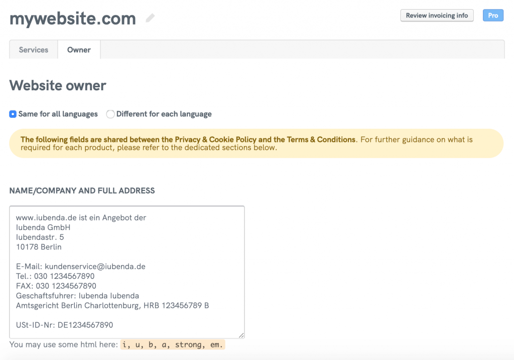 Example of an Impressum placed in owner field of the privacy policy