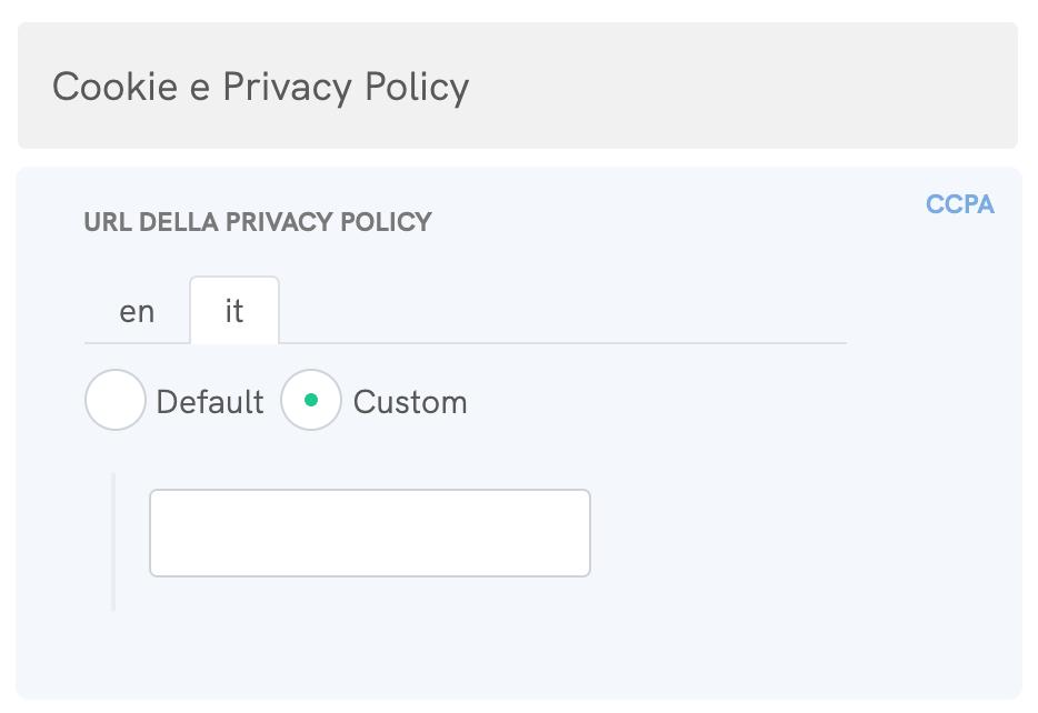 Cookie Solution per il CCPA - URL custom della Privacy Policy