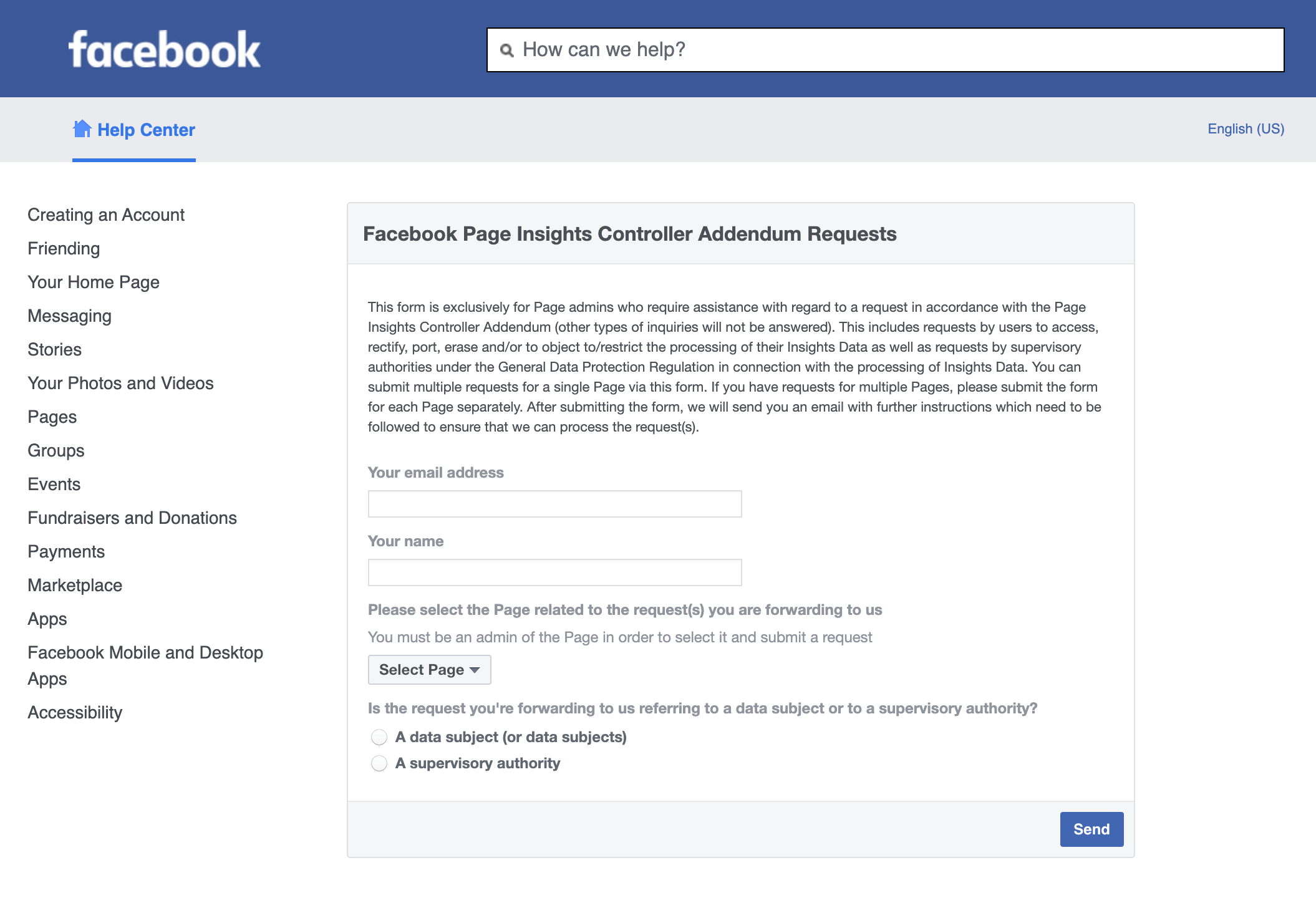 Facebook Page Insights Controller Addendum Requests