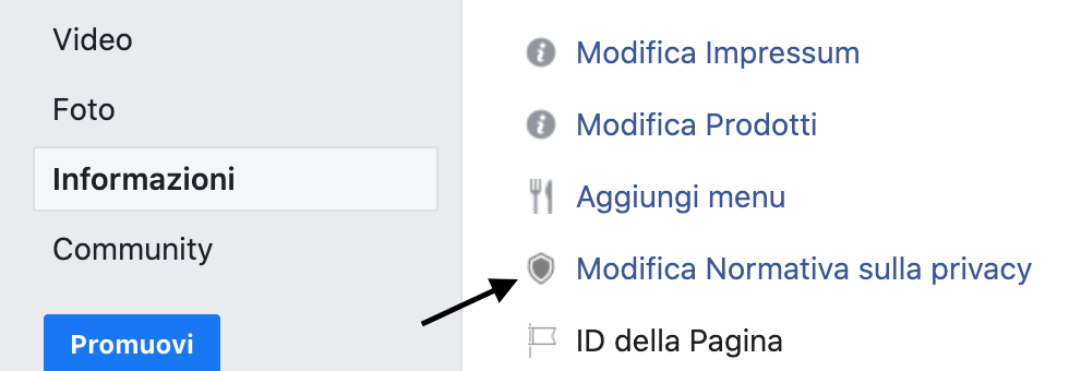 Aggiunta di una privacy policy a una pagina Facebook