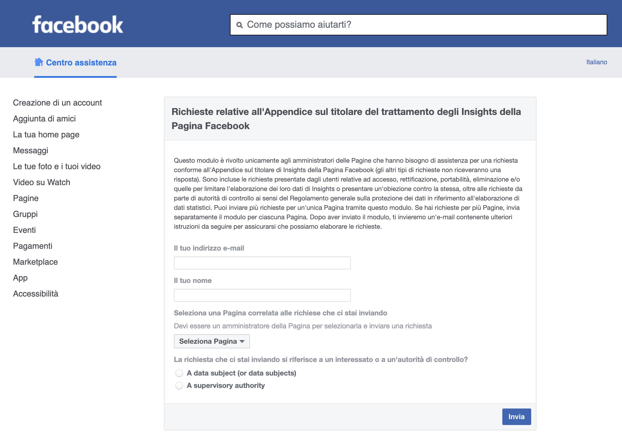 Richieste relative all'Appendice sul titolare del trattamento degli Insights della Pagina Facebook
