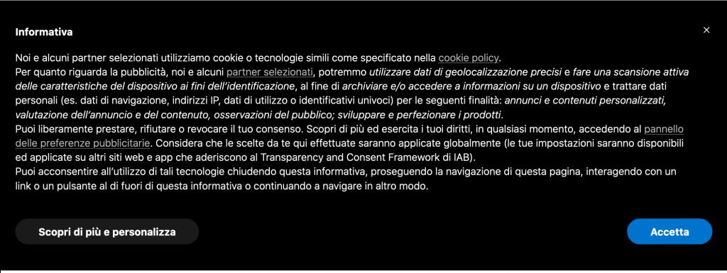 Cookie banner di iubenda con supporto allo IAB Transparency and Consent Framework v2.0