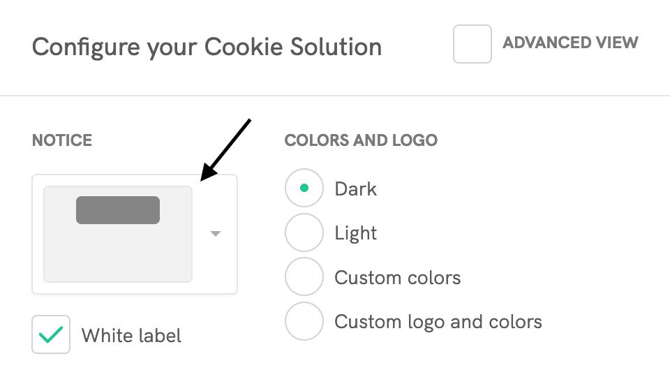 Cookie Solution configurator - Notice dropdown