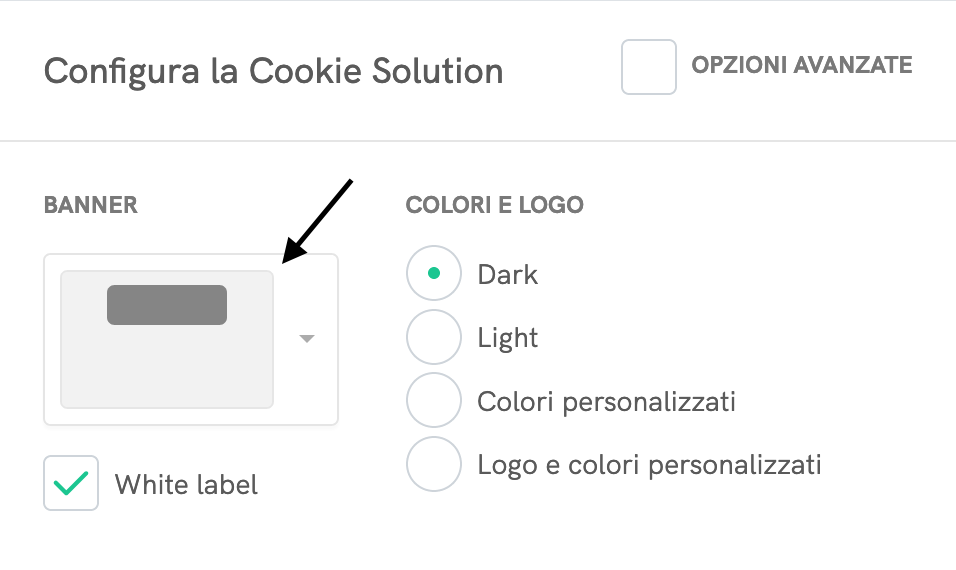 Configuratore della Cookie Solution - Banner