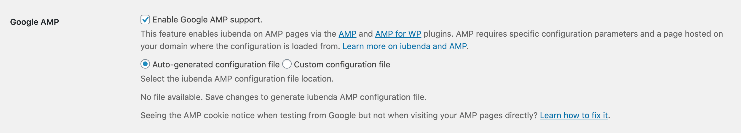 iubenda Cookie Solution plugin for WordPress - Google AMP support