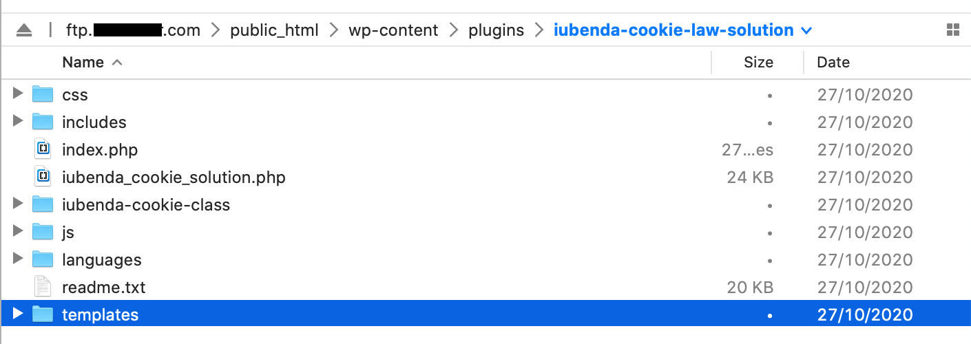 Cartella templates (plugin WordPress di iubenda)