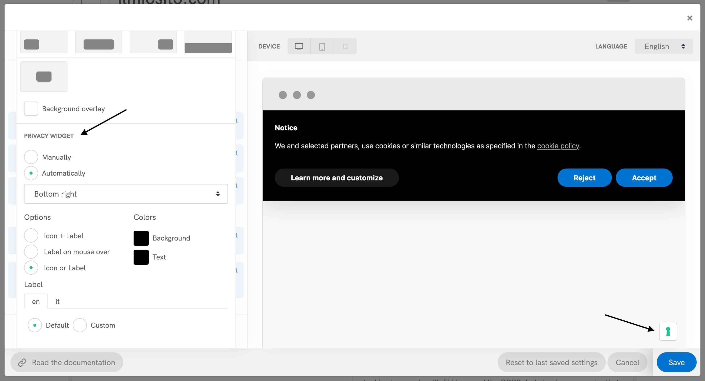 Cookie Solution configurator - Privacy widget