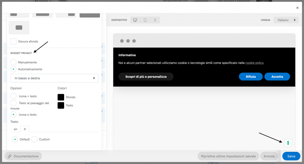 Configuratore della Cookie Solution - Widget privacy