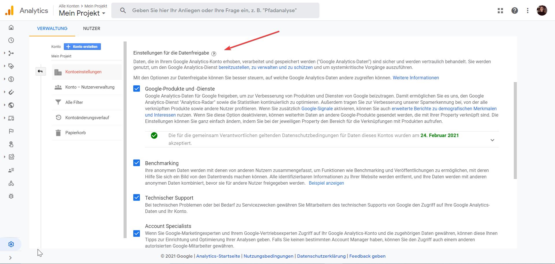 Google Analytics - Data Sharing Settings