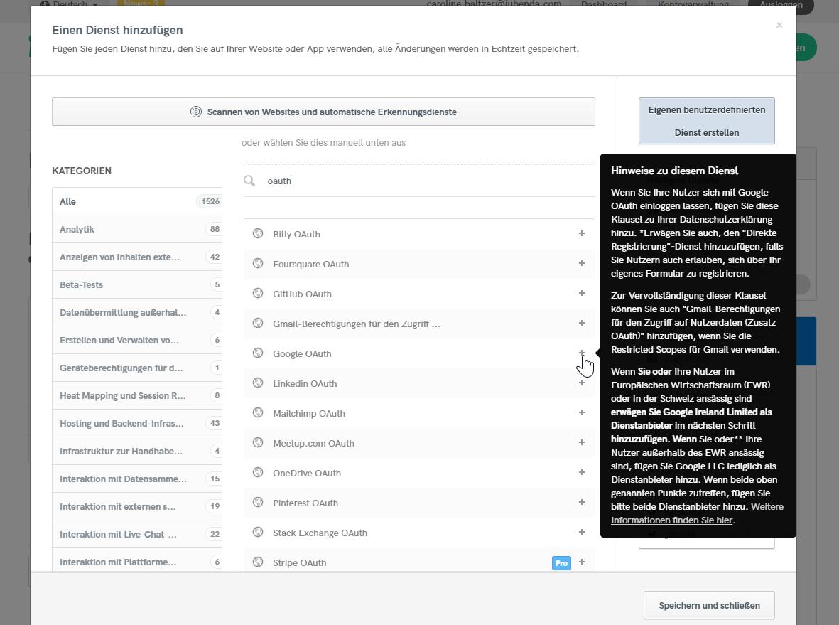 iubenda Privacy Policy - Google OAuth service