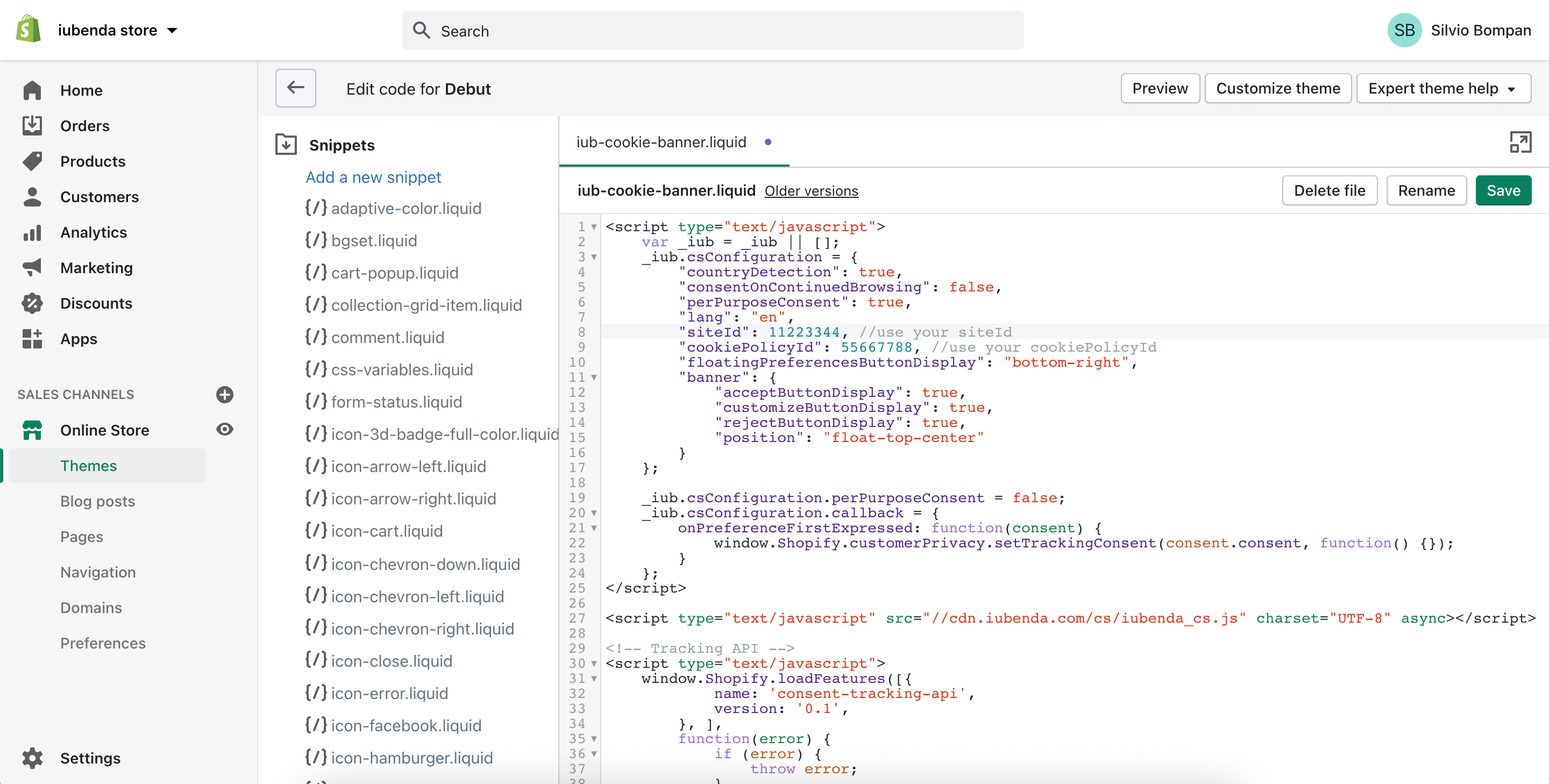 Shopify - Cookie Solution snippet