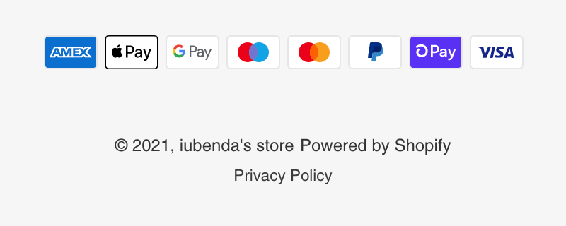 Privacy Policy link on Shopify