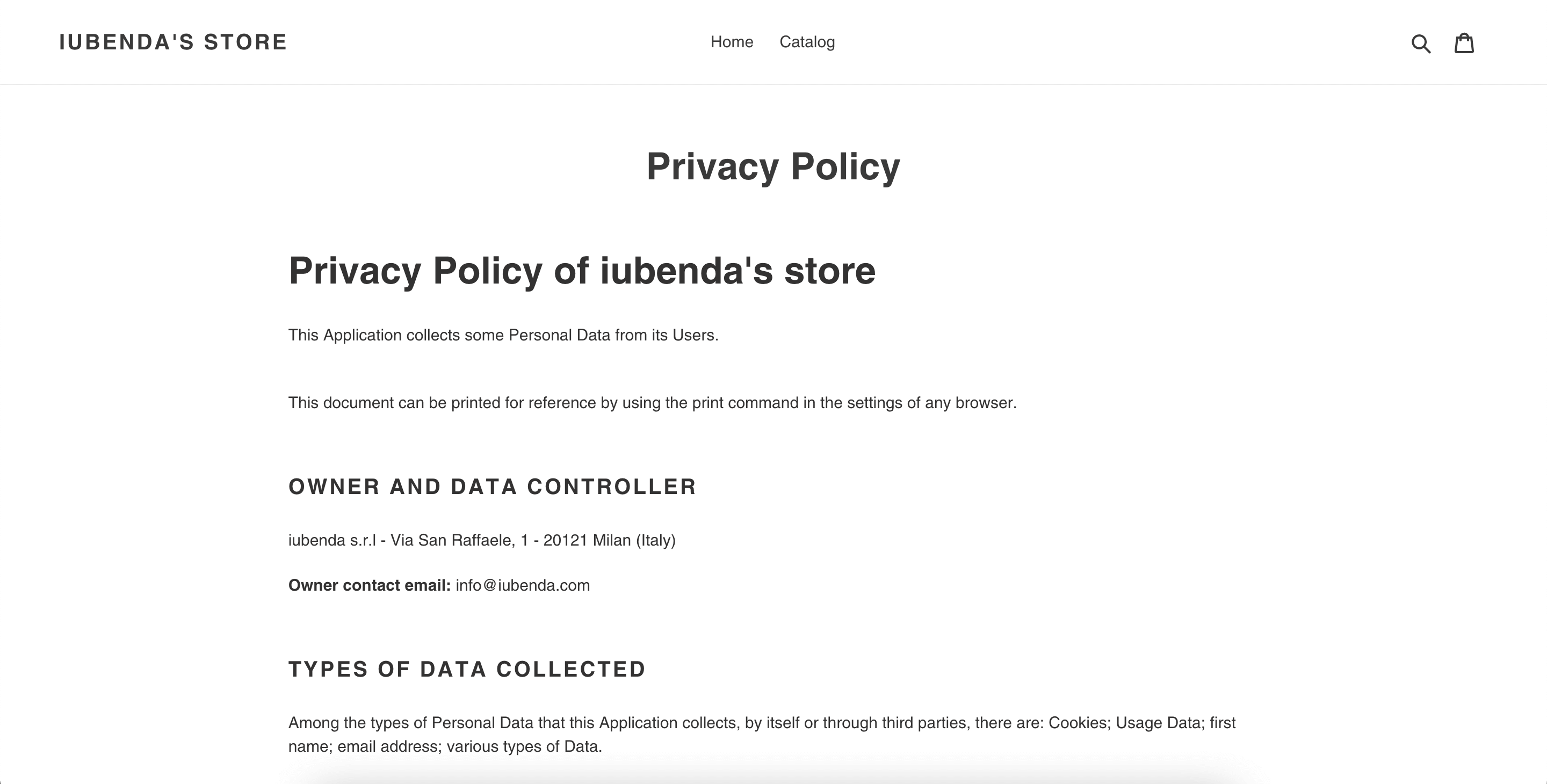 Privacy Policy page on Shopify