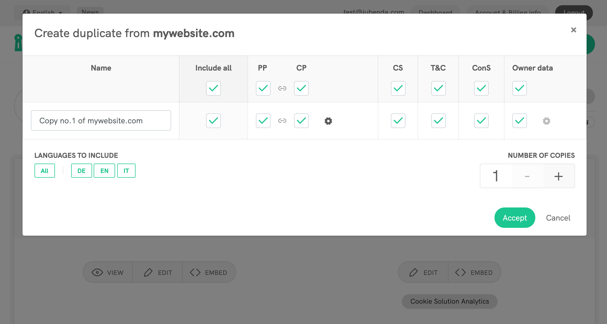 Duplicate an existing site