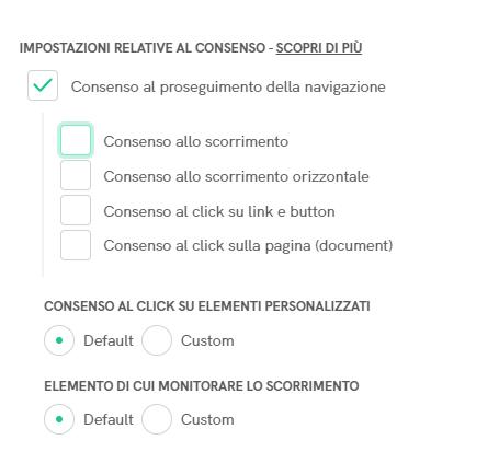 Cookie Solution - Consenso al proseguimento della navigazione (scorrimento e click)