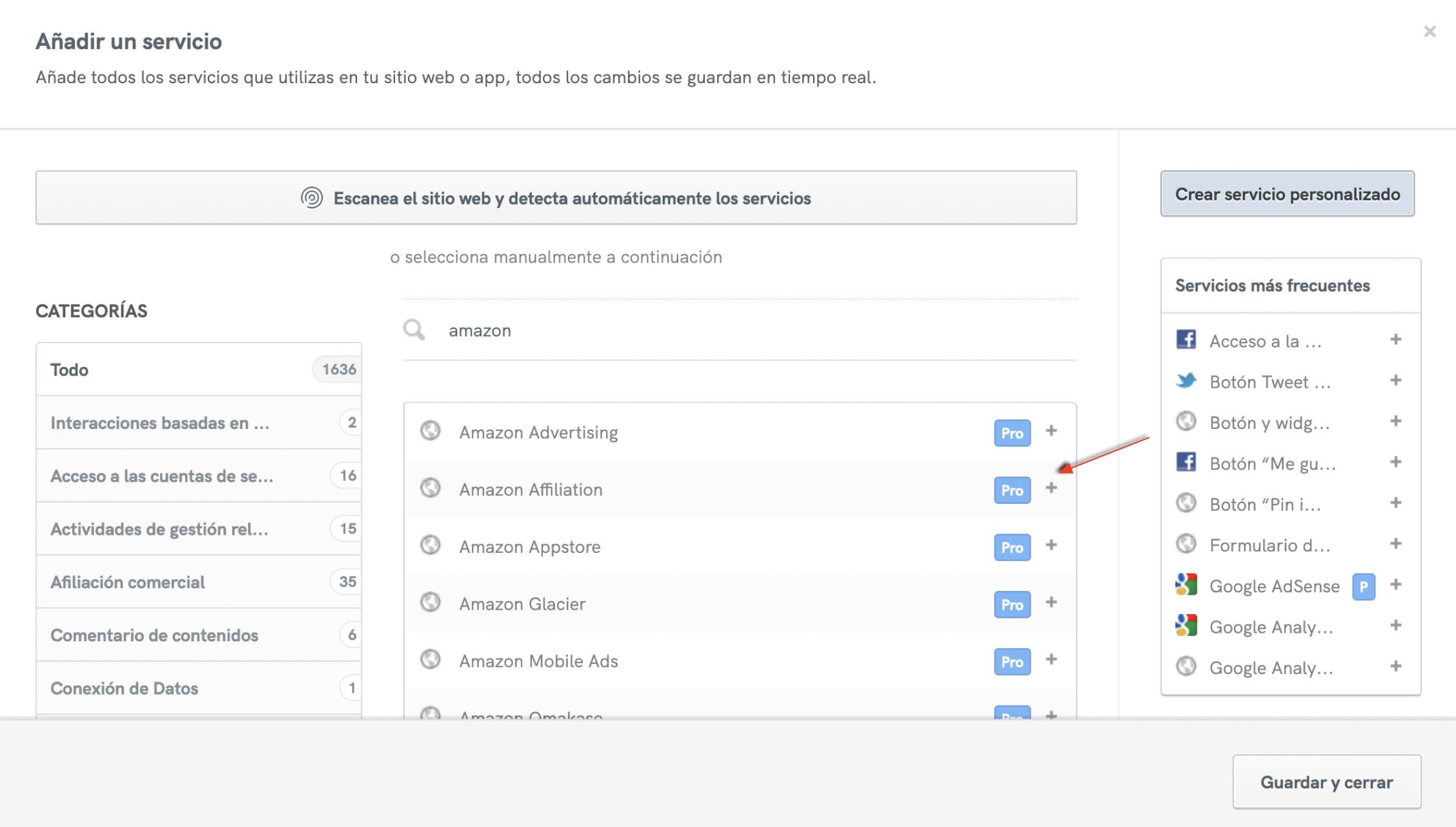 """Cómo añadir el servicio """"Afiliado de Amazon"""" de iubenda"""
