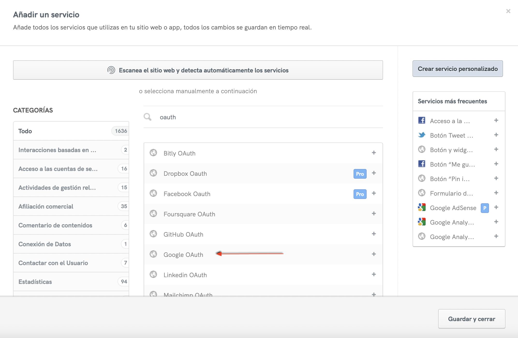 Política de Privacidad de iubenda: Servicio de Google OAuth