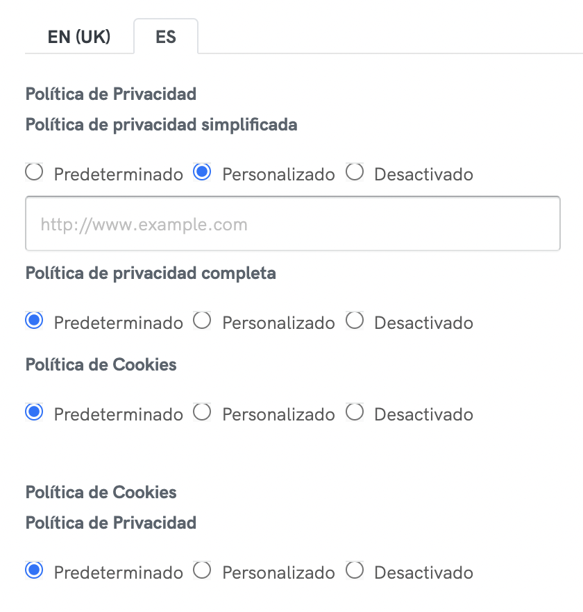 Customize Privacy and Cookie Policy internal links