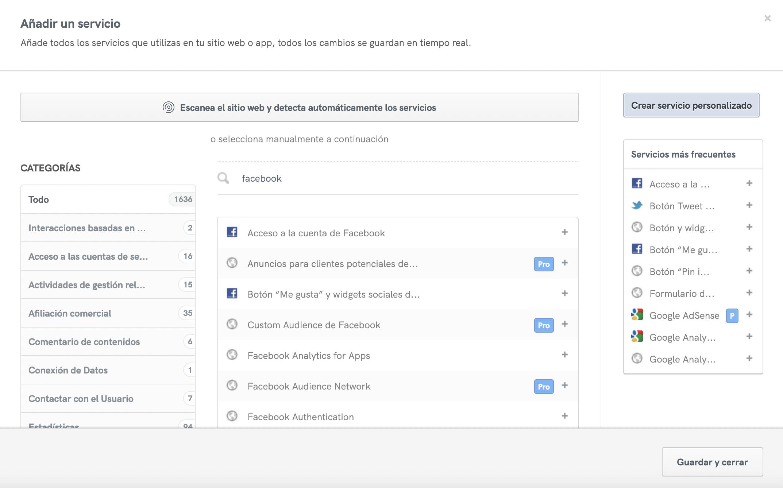 Agrega los servicios de Facebook a tu política de privacidad